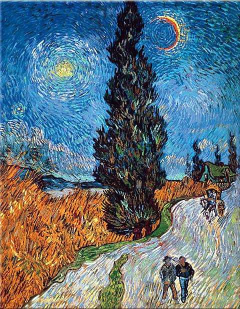 Van Gogh - Strada con cipressi e stella, 1890
