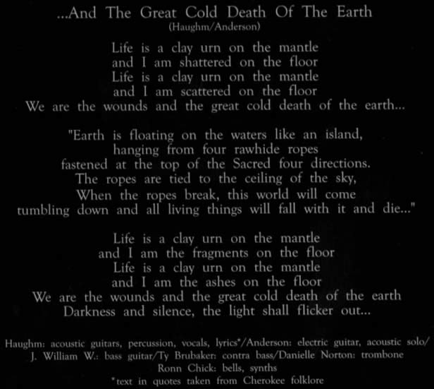 And the great cold death of the earth