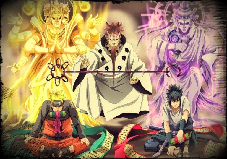 Hagoromo, Ashura, Indra, Naruto, Sasuke