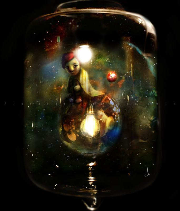 The boy on the bulb © Alexander Jansson (2014)